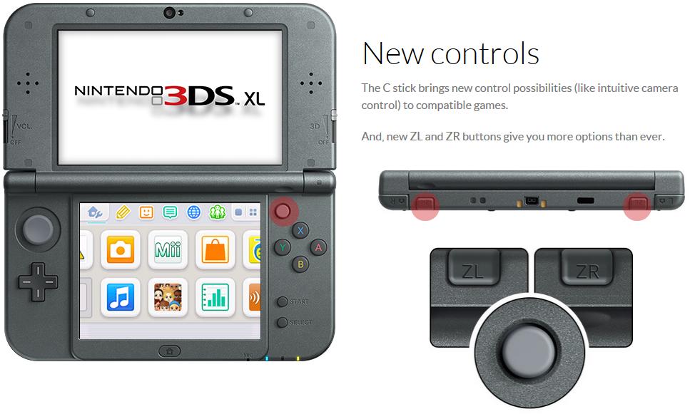 new 3ds xl controls